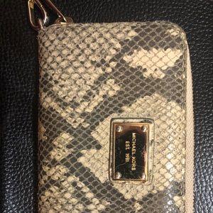 Michael Kors python print wallet wristlet